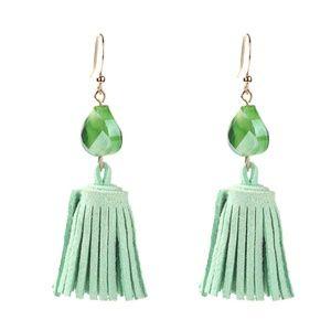 Dainty Green Tassel Earrings